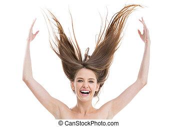 cheveux, elle, lancement, joli, rire, haut, femme