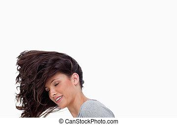 cheveux, elle, renverser, femme, jeune