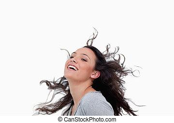 cheveux, elle, renverser, femme souriante