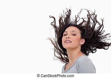 cheveux, elle, renverser, regarder, sensuelles, femme
