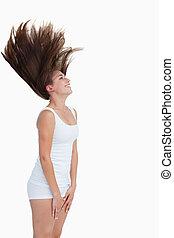 cheveux, elle, renverser, sourire, brunette