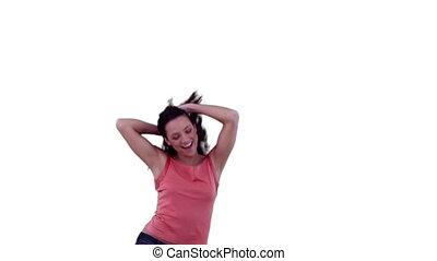 cheveux, elle, sauter, quoique, sentiment, femme