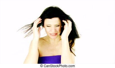 cheveux, ennui, femme, vent