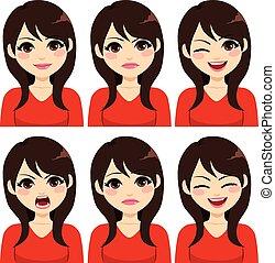 cheveux, expressions, femme, brunette, long