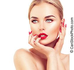 cheveux, femme, blonds, clous, rouges, beau, rouge lèvres, mannequin
