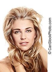 cheveux, femme, blonds, long