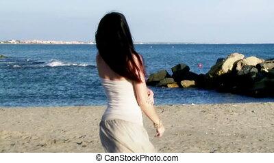 cheveux, femme, en mouvement, long