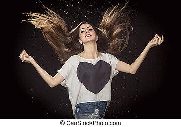 cheveux, femme, haut, threw