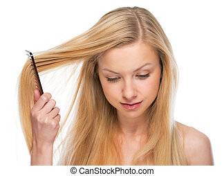 cheveux, femme, jeune, peigner