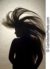 cheveux, femme, jeune, renverser