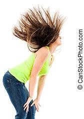 cheveux, femme, renverser, elle