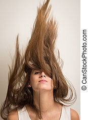 cheveux, femme, renverser, elle, haut