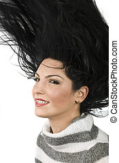 cheveux, femme, renverser