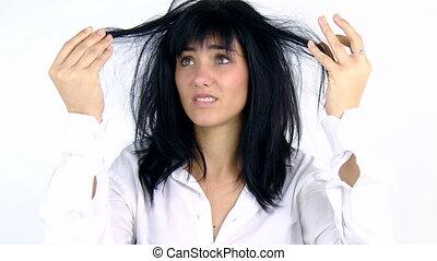 cheveux, femme, sale, triste