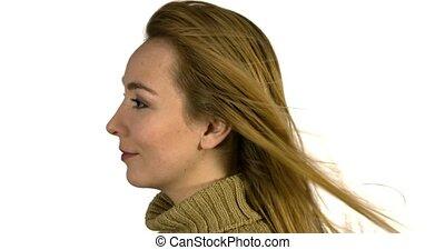cheveux, femme, vent, long