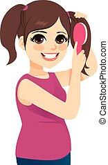cheveux, girl, adolescent, peigner