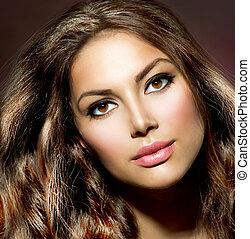 cheveux, girl., beauté, modèle, sain, brillant