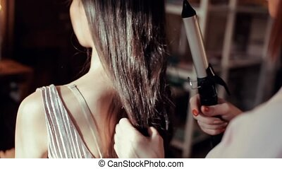 cheveux, girl, brunette, marques, coiffeur