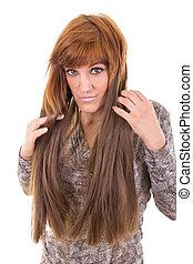 cheveux, girl, elle, projection, extension