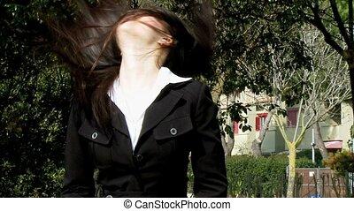 cheveux, girl, en mouvement, asiatique, long