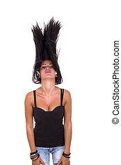 cheveux, girl, lancements, elle