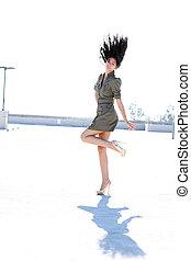 cheveux, girl, lancer, elle