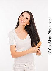 cheveux, long, femme, elle, jeune, heureux, peigner