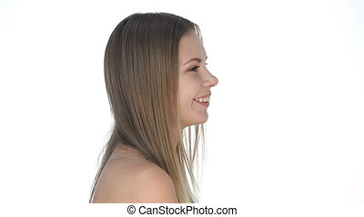 cheveux, mignon, girl, voler, jeune