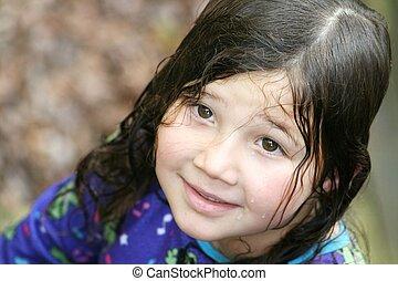 cheveux, petite fille, joli, mouillé