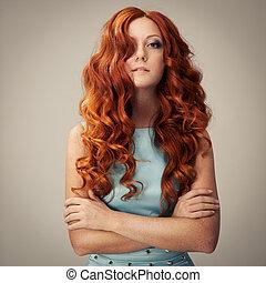 cheveux, portrait., beauté, bouclé
