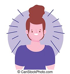 cheveux, portrait, brioche, femme, dessin animé, brunette