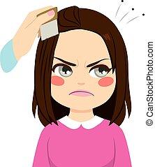 cheveux, poux, peigner
