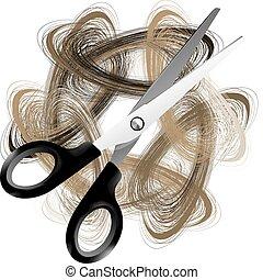 cheveux, scissor