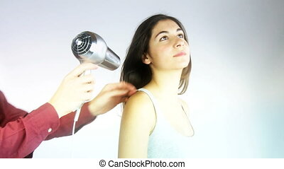 cheveux, sec, styliste, long