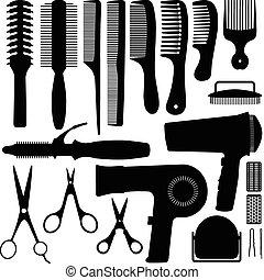 cheveux, vecteur, silhouette, accessoires