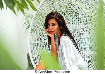 chic, mode, decorations., photo, luxe, beau, vacation., piscine, villa., girl, balançoire