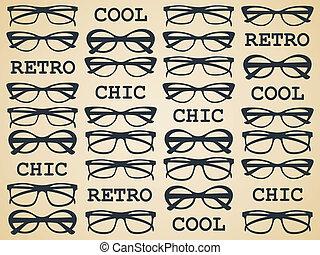 chic, retro, lunettes