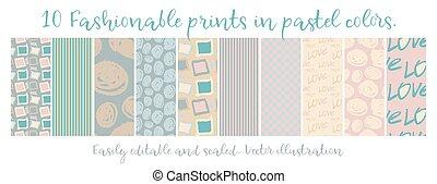 chic, seamless, patterns., vecteur, différent, 10