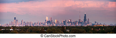 chicago, coucher soleil, panorama