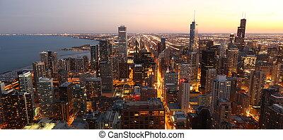chicago, /, en ville, au-dessus, usa, vue, élevé, crépuscule