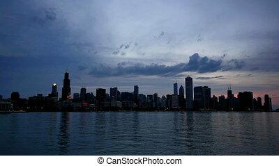 chicago, lac, reflété, coucher soleil, défaillance temps, horizon, il