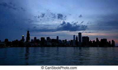 chicago, lac, reflété, coucher soleil, défaillance temps, horizon