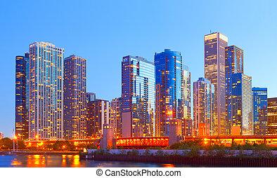 chicago, ville, bâtiments, éclairé, panorama, coloré, coucher soleil, affaires centre ville, usa, horizon
