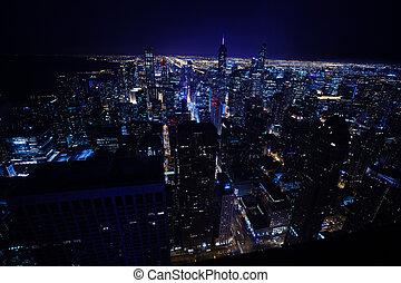 chicago, ville, nuit, horizon, illuminations