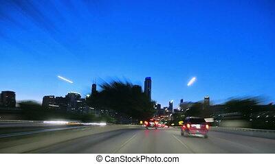 chicago, vitesse, coucher soleil, en ville, conduite, appareil photo, voiture, entiers