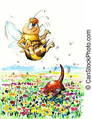 chien, abeille