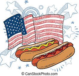 chien, américain, croquis, chaud