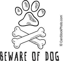 chien, croquis, prendre garde