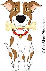 chien, dessin animé, rigolote, os