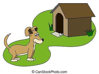 chien, illustration, brun, paws., peu, vecteur, isolé, blanc, rigolote, arrière-plan.